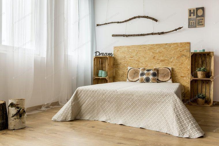 dormitorio minimalista rustico