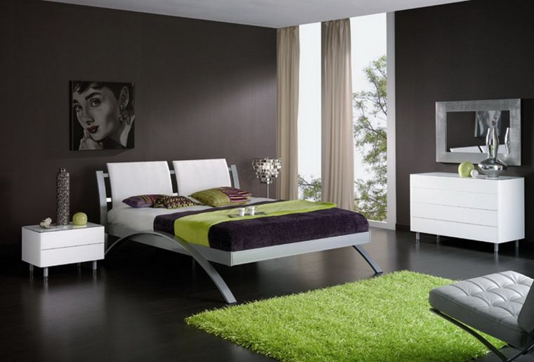 dormitorio minimalista toque verde
