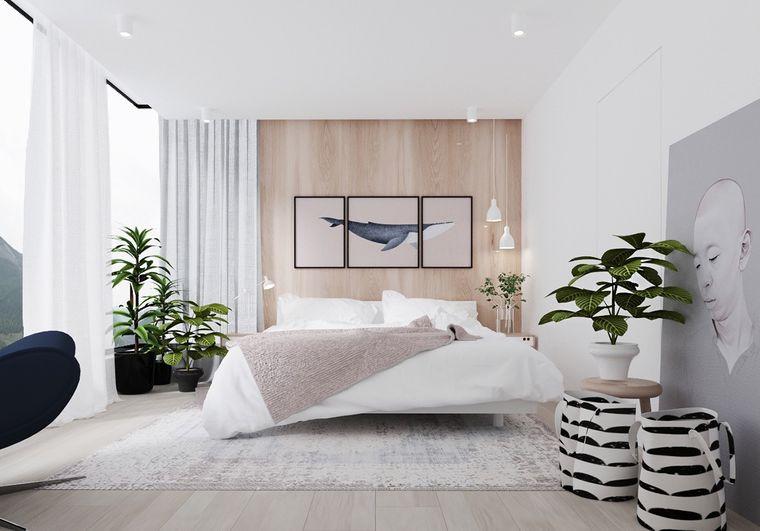 dormitorio minimalista vegetacion