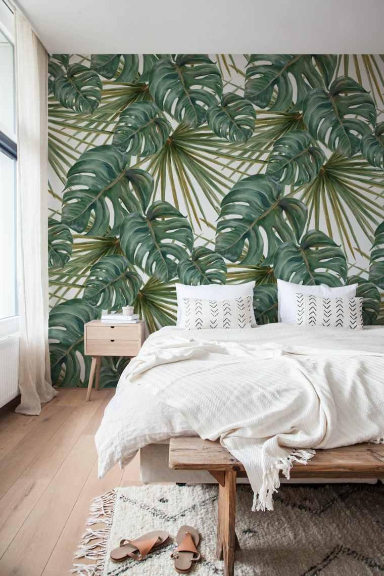dormitorio-moderno-hojas-verdes-tropical
