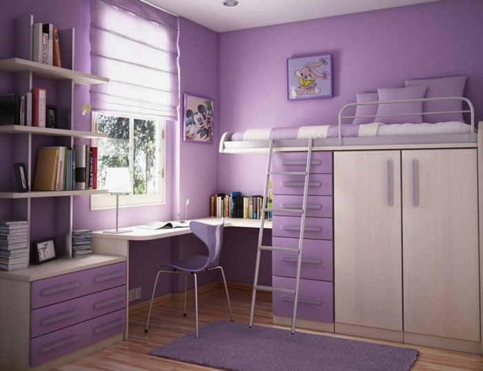 dormitorios infantiles originales-color-purpura-estilo