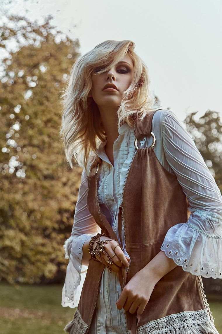 estilo hippie chaleco blumarine