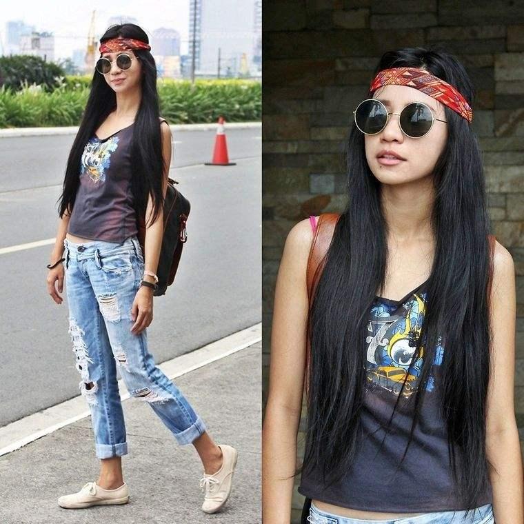 estilo hippie jean desgarrados