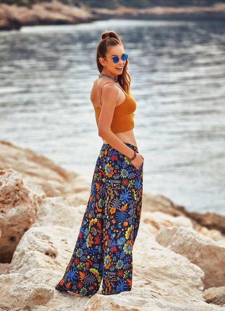 estilo hippie pantalon palazzo