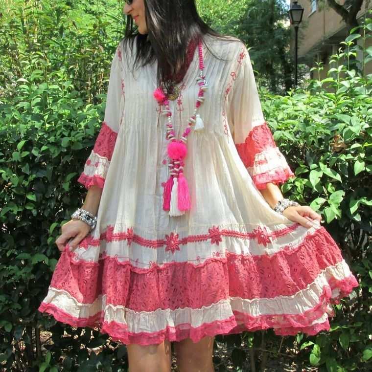 estilo hippie vestido corto ancho
