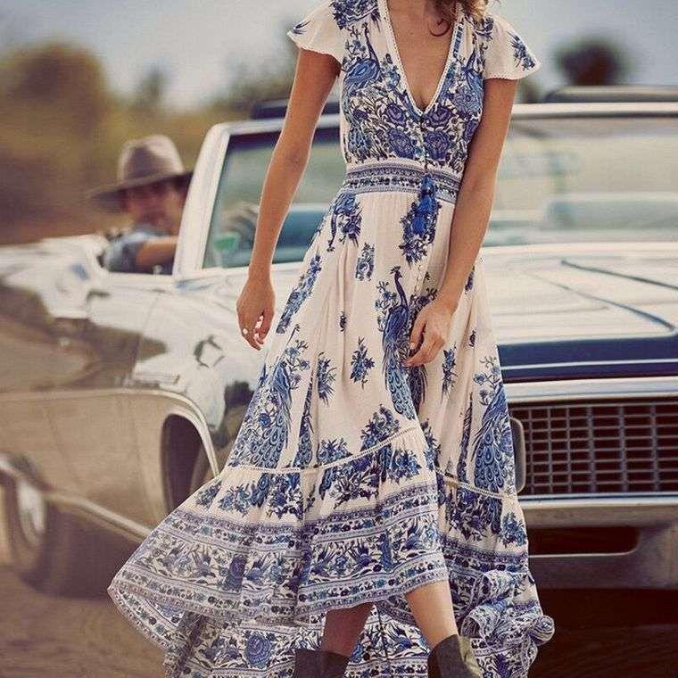 estilo hippie vestido largo