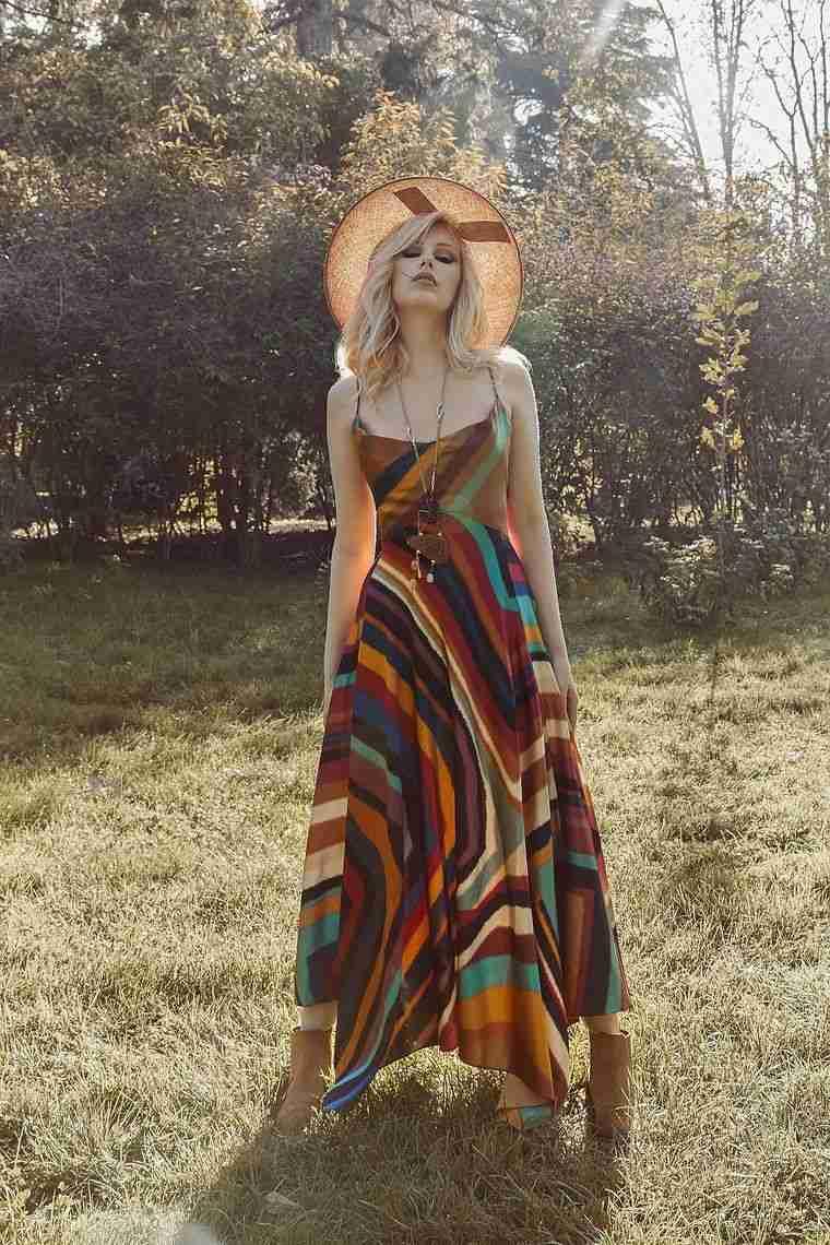 estilo hippie vestido sombrero