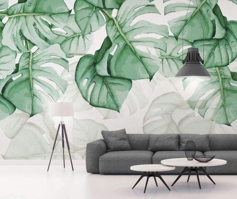 hojas-verdes-papel-pared-estilo
