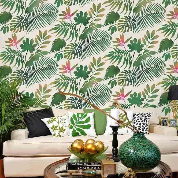 hojas-verdes-salon-moderno-pared