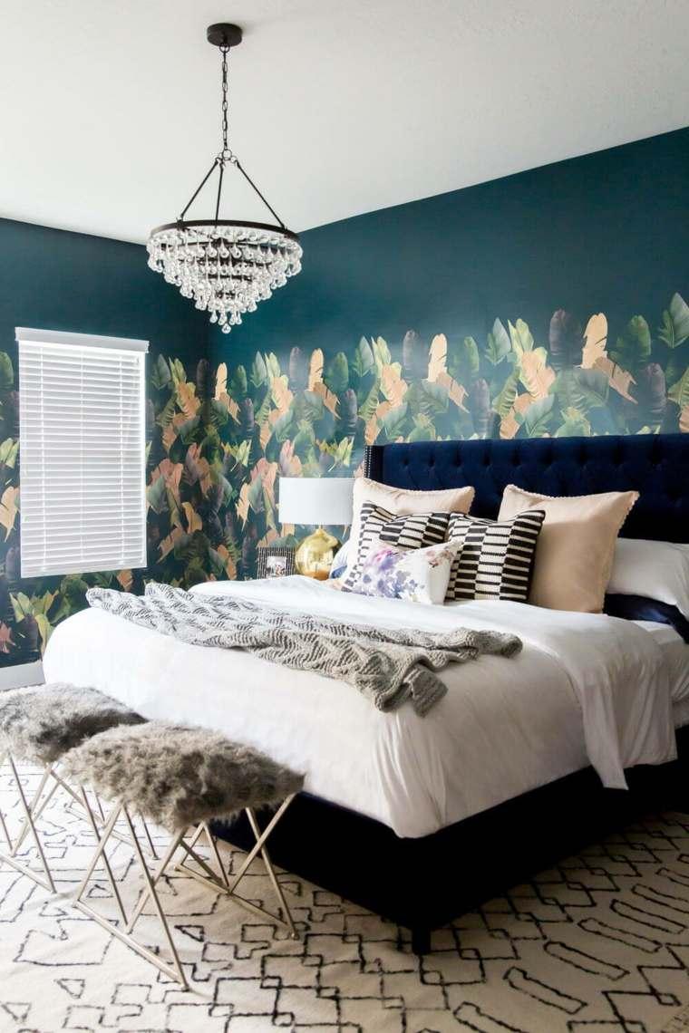 hojas-verdes-tropical-acento-dormitorio