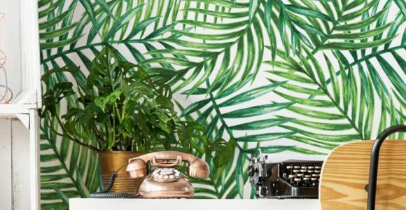 hojas-verdes-tropical-papel-ideas-pared