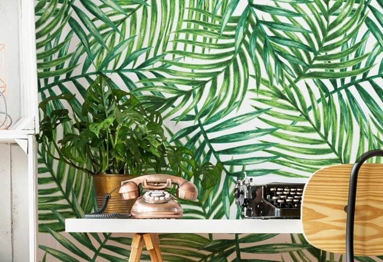 hojas-verdes-tropical-papel-ideas-pared