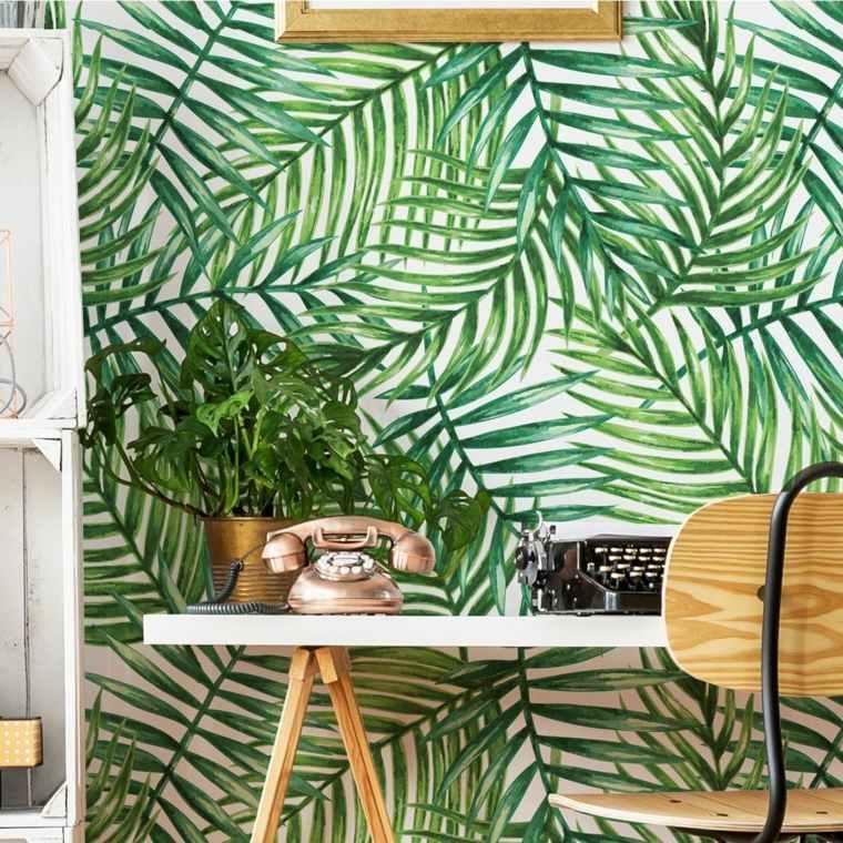 hojas verdes-tropical-papel-ideas-pared