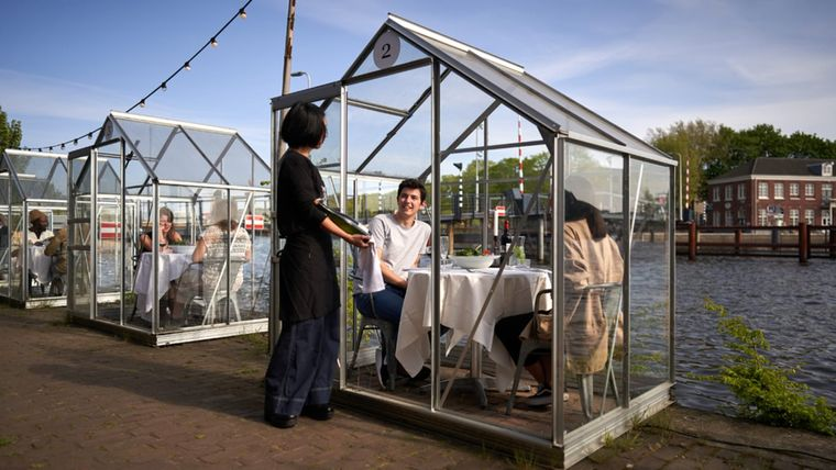 invernadero distanciamiento restaurante