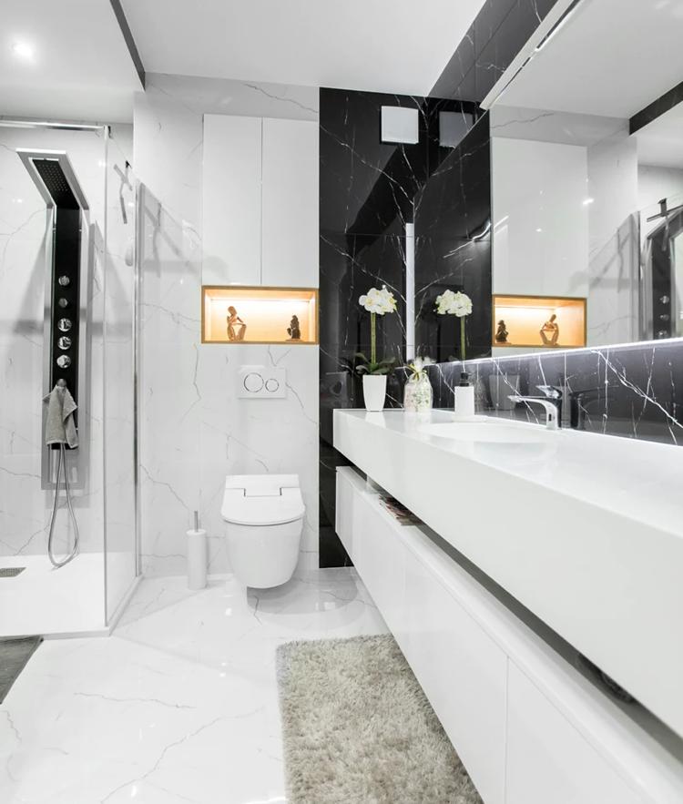 muebles para baño minimalistas comninar blanco negro