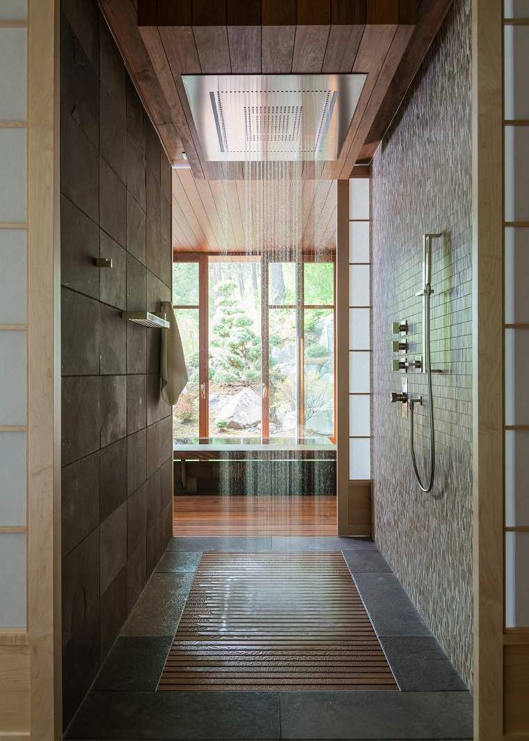 muebles para baño minimalistas-ducha-techo