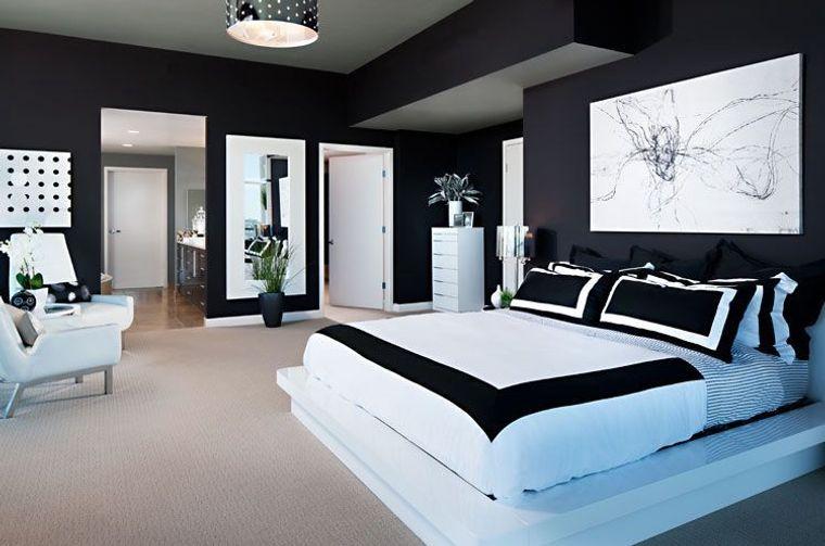 paredes dormitorio negro blanco