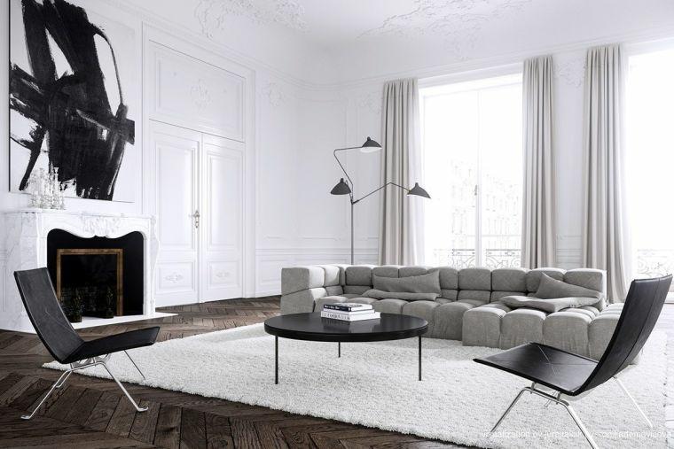 salones-modernos-minimalistas-gris-blanco