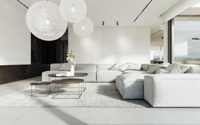 salones modernos minimalistas-lamparas-blancas
