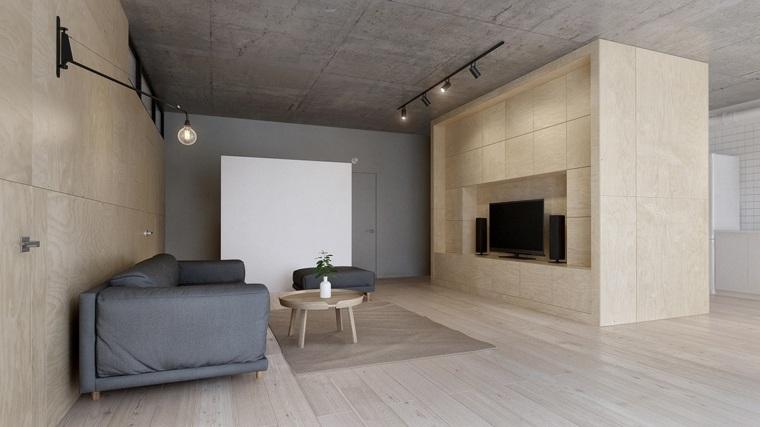 salones modernos minimalistas-madera