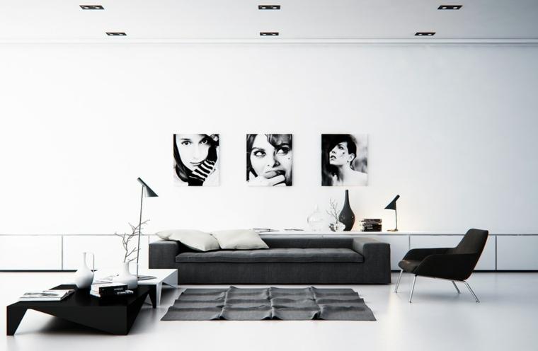 salones modernos minimalistas-negro-blanco