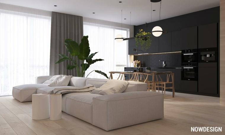 salones modernos minimalistas-negro-mate