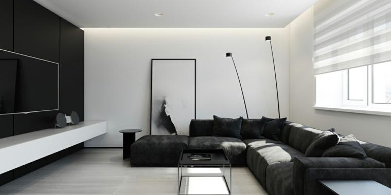 salones-modernos-minimalistas-sofa-negro-paredes-blancas