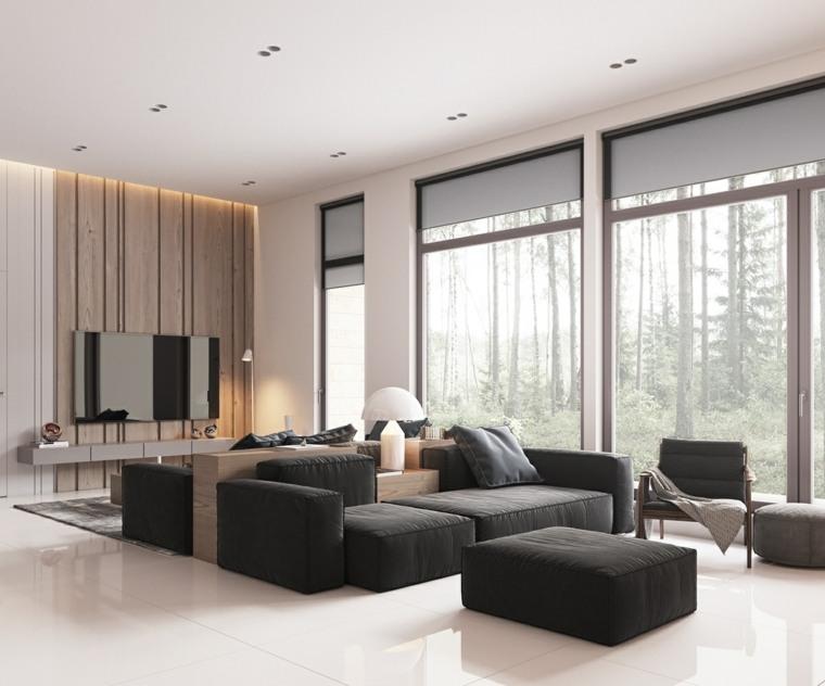 salones-modernos-minimalistas-sofa-negro