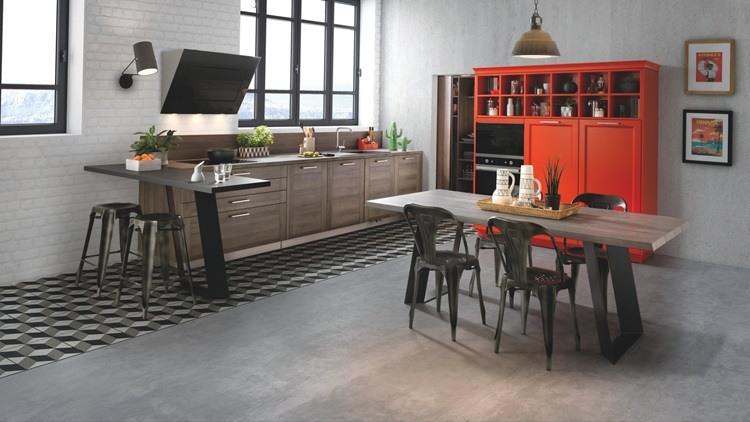 Diseño de cocinas modernas modernas-color-naranja