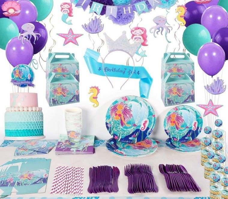 decoración de cumpleaños accesorios sirenita