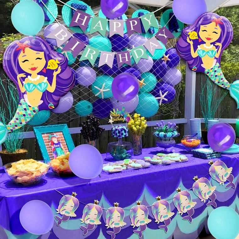 decoración de cumpleaños azul morado