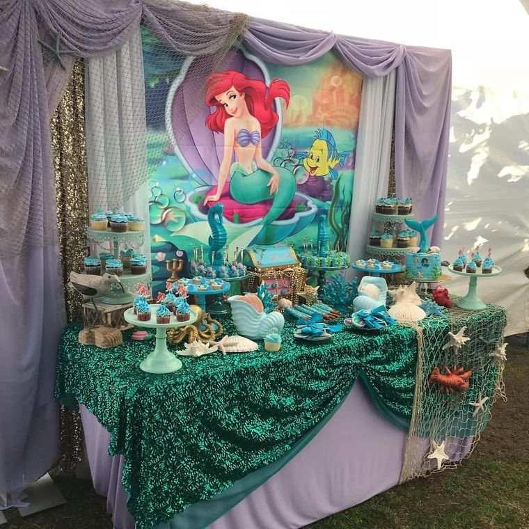decoración de cumpleaños mesa ariel