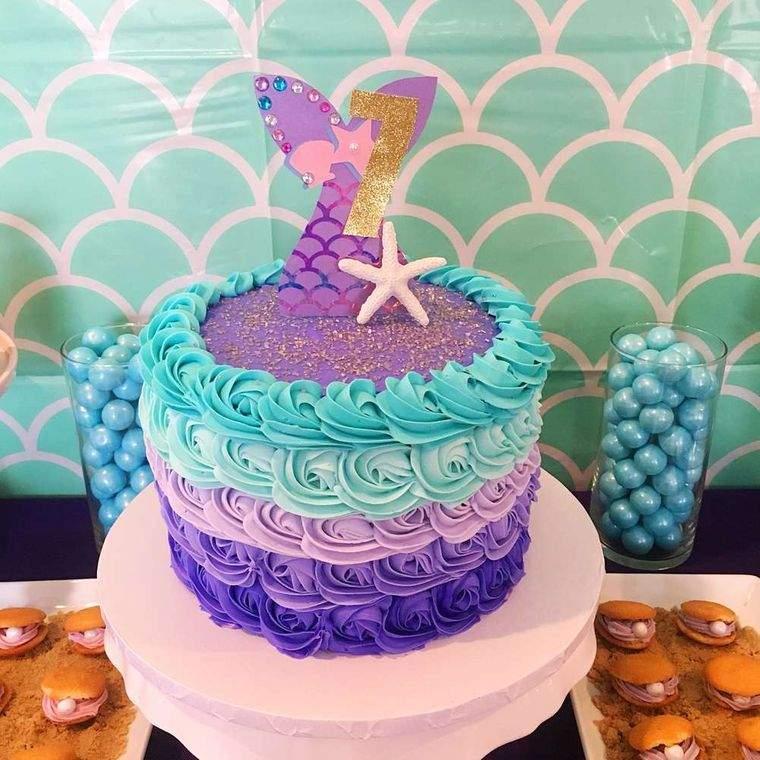 decoración de cumpleaños pastel sirena