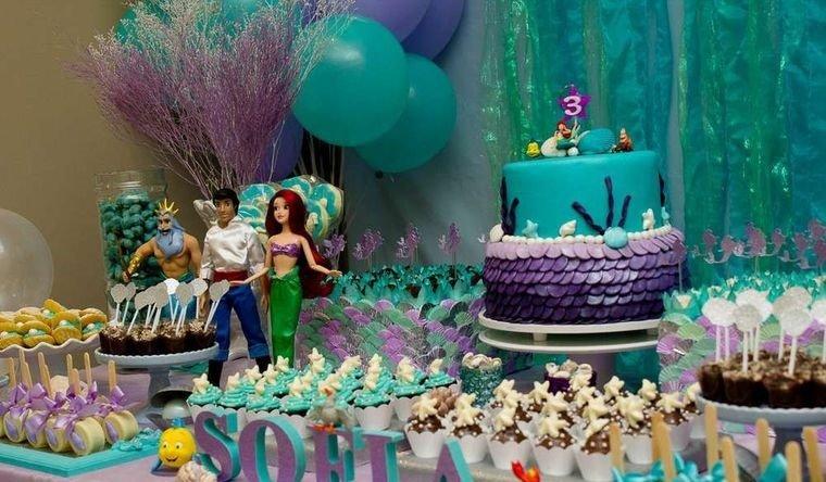 decoración de cumpleaños sirenita ariel