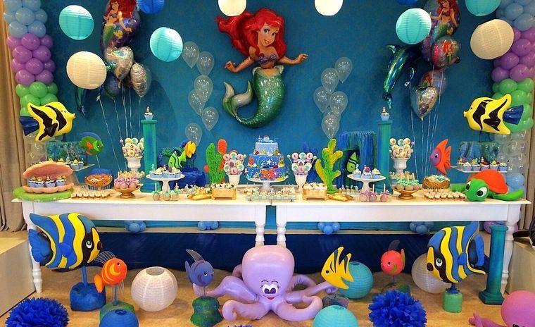 decoración de cumpleaños sirenita