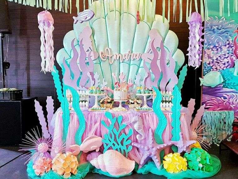 decoración de cumpleaños tema sirenita