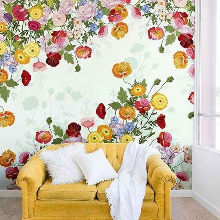 decoracion-de-verano-sala-estar-papel-pared