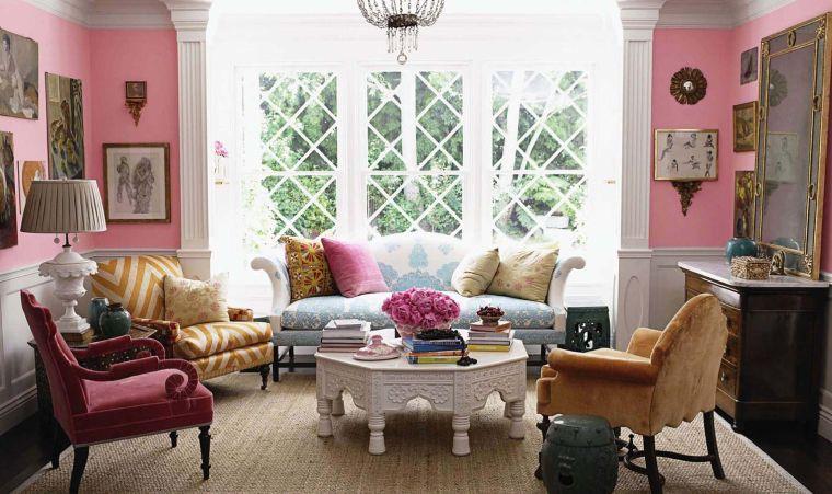 decoración ecléctica color rosa