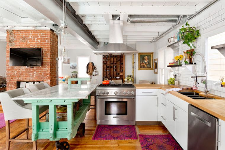 decoración ecléctica gran cocina