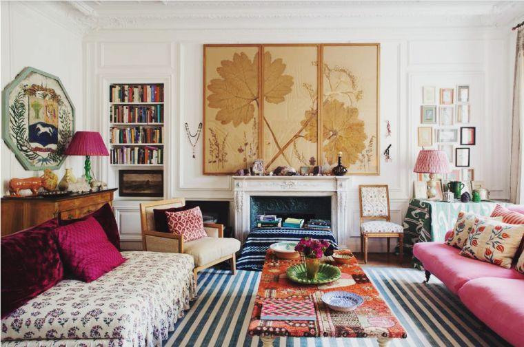 decoración ecléctica sala de estar