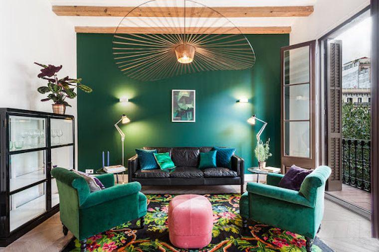 decoración ecléctica verde