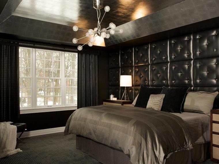pared-cuero-negro-dormitorio