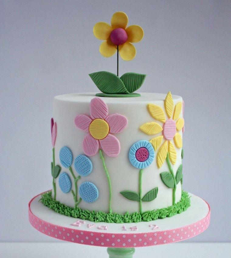 pasteles infantiles con flores