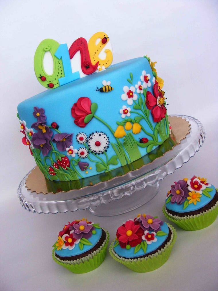 pasteles infantiles flores
