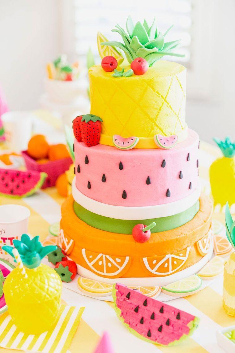pasteles infantiles frutas