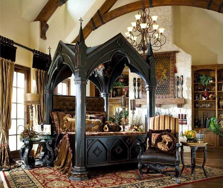 Recamaras diseño gotico-cama-dosel