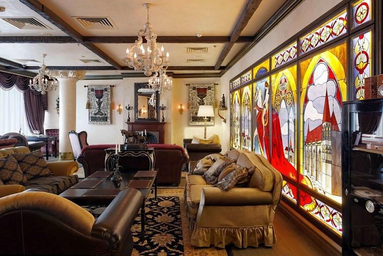 salon-diseno-gotico-chimenea-estilo