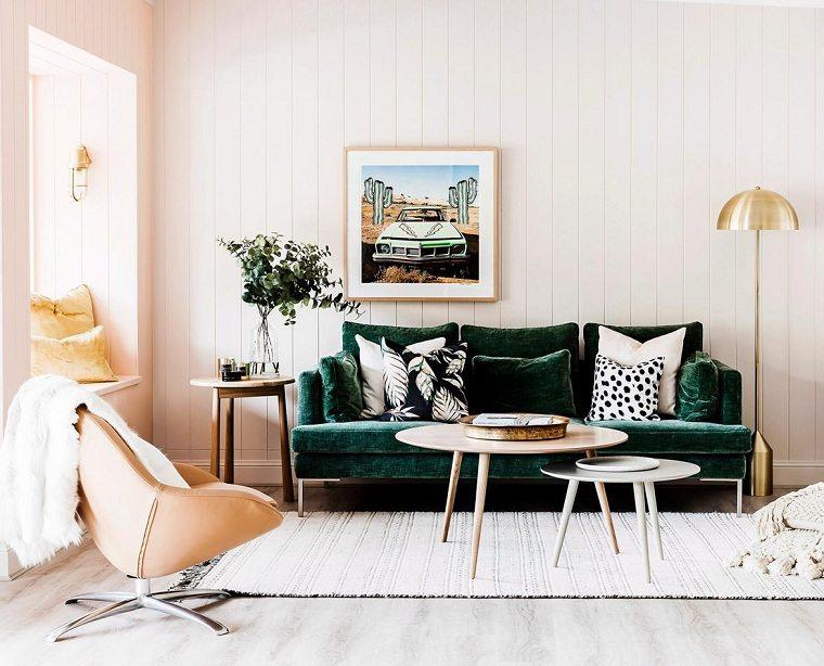 Sofas pequeños color-verde-ideas