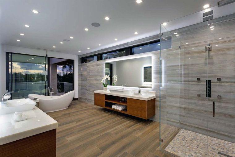 baños modernos bañera ducha abierta