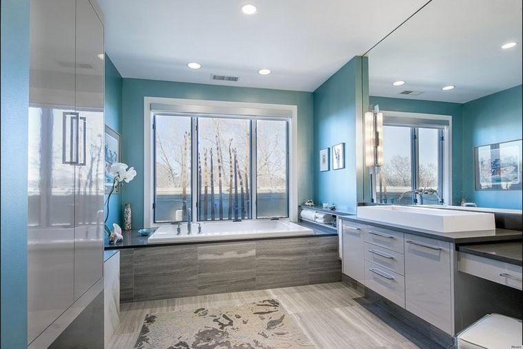 baños modernos color azul